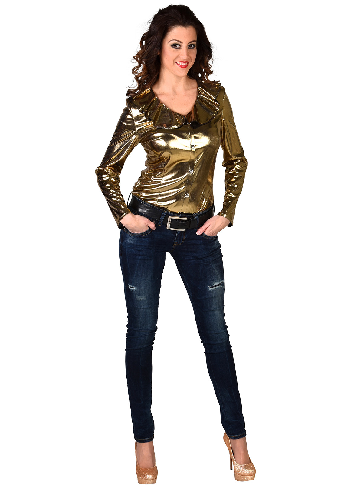 Dames Blouse Metalic Goud