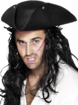 Piraat Tricorn Hoed Zwart
