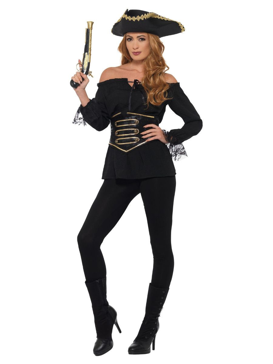 Piraat Shirt Dames Zwart