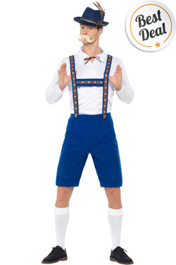 Bavarian Man Kostuum Blauw