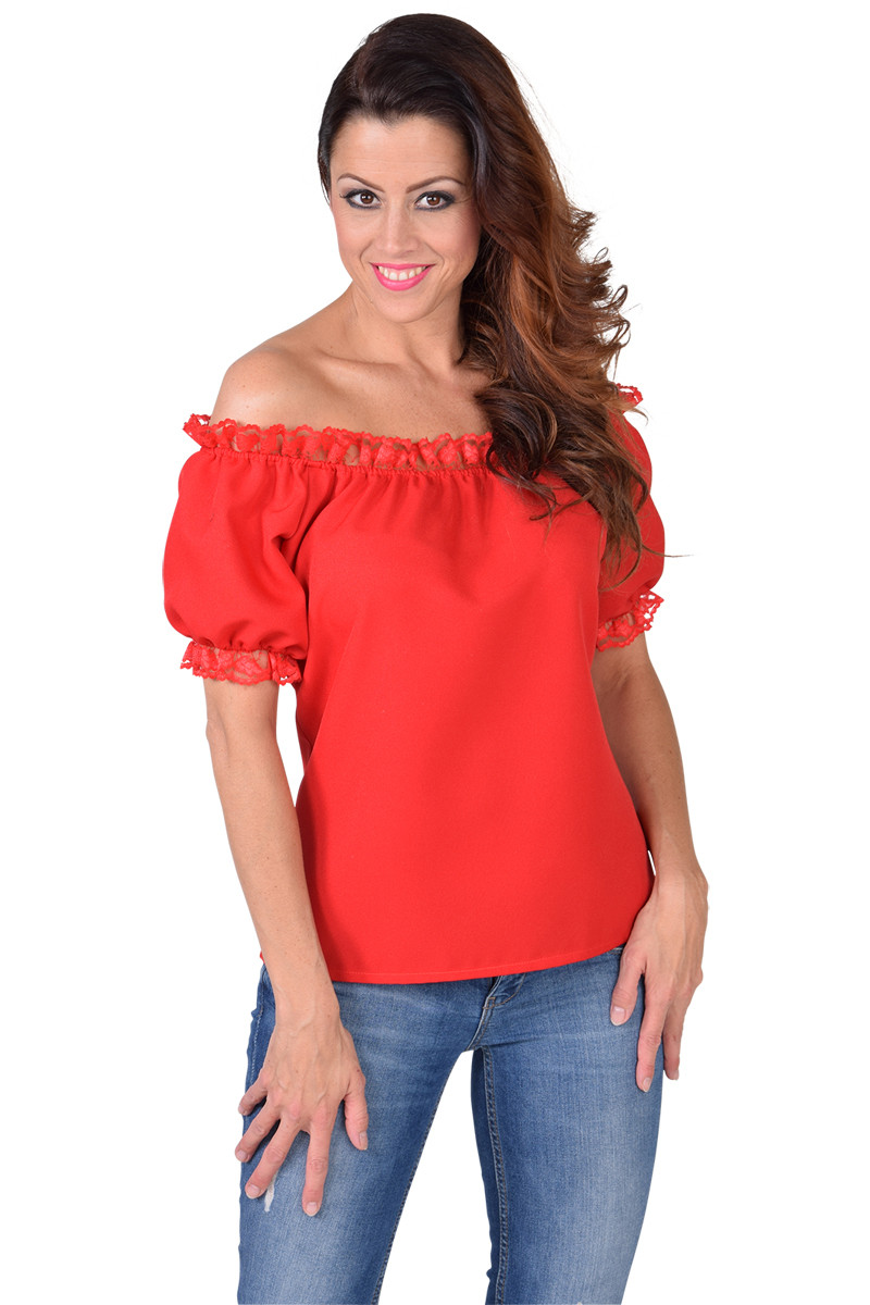 Blouse Off Shoulder Rood