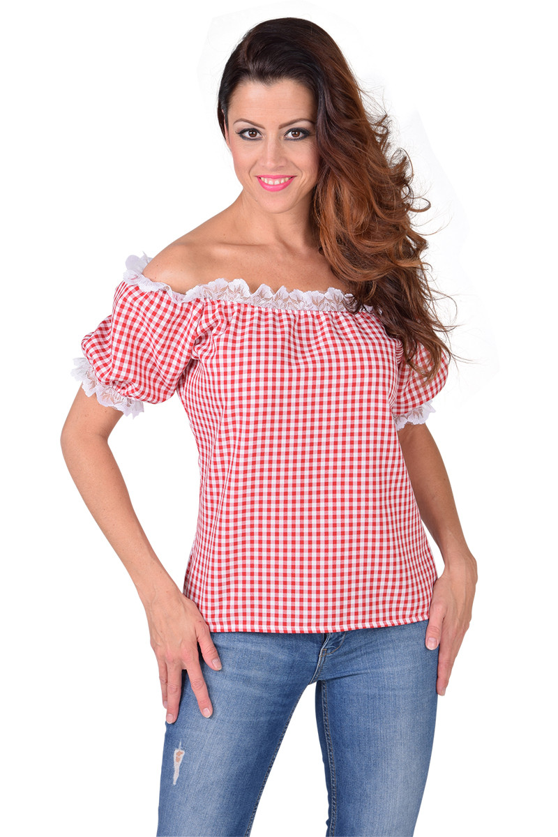 Blouse Off Shoulder Rood Geruit