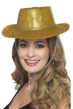 Cowboy Glitter Hoed Goud
