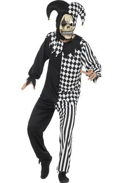 Evil Jester Kostuum Zwart-Wit