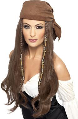 Piraat Lady Pruik Bruin