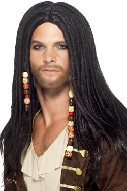 Piraat Man Pruik Zwart