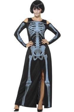 X-Ray Skeleton Jurk Zwart