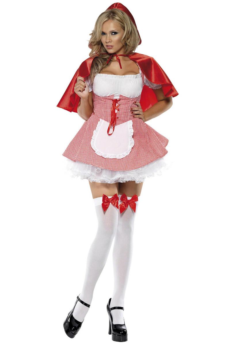 Kostuums Dames.Leuk En Sexy Fever Roodkapje Kostuum Met Rode Cape